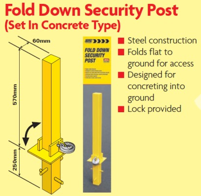 fold down security posts