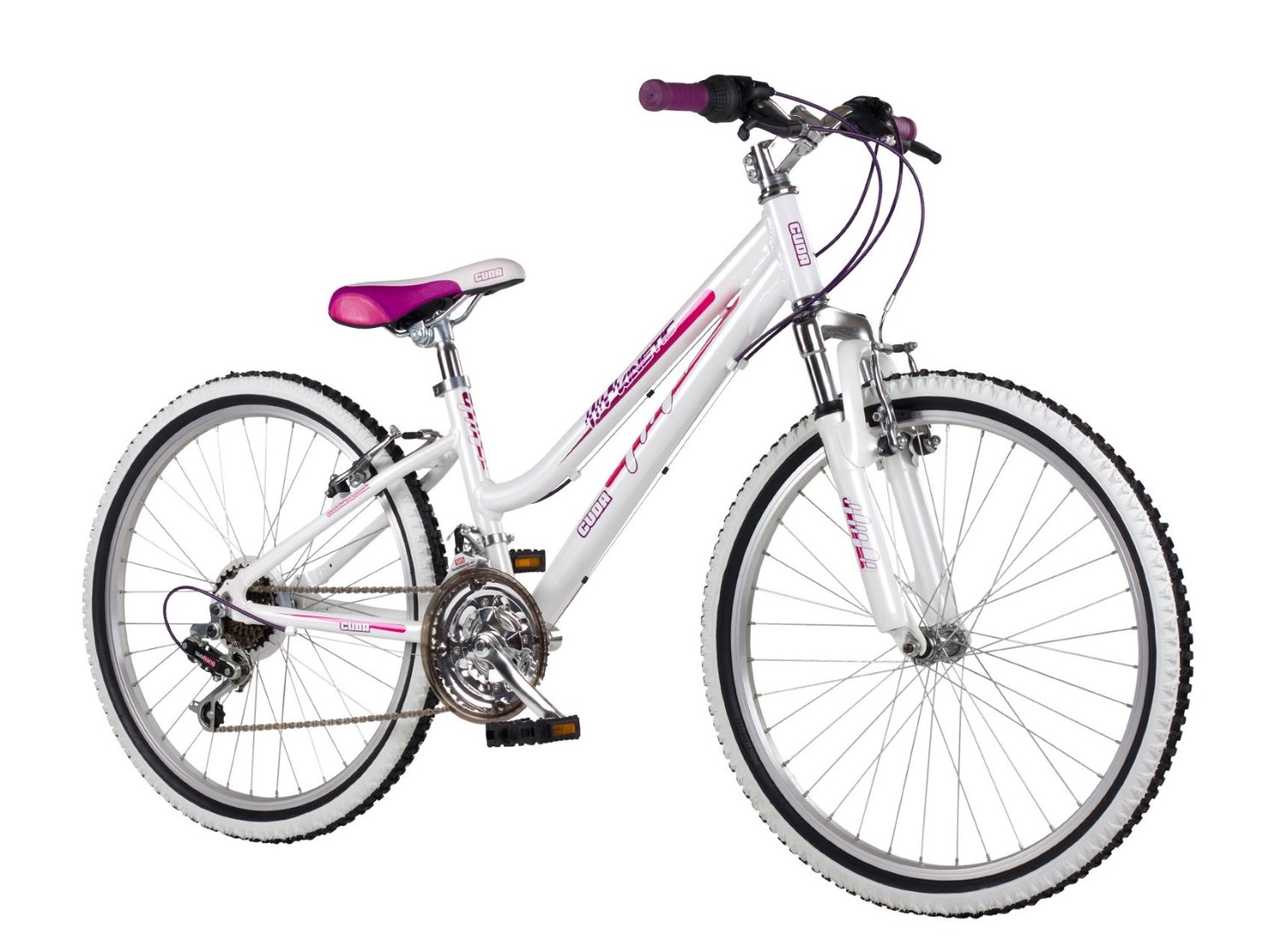 Cuda 24 Inch White Pink Kinetic Bike For Girls Andrew Curran Car Parts